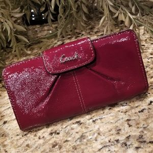 COACH Red Crimson Leather Ashley Slim Wallet